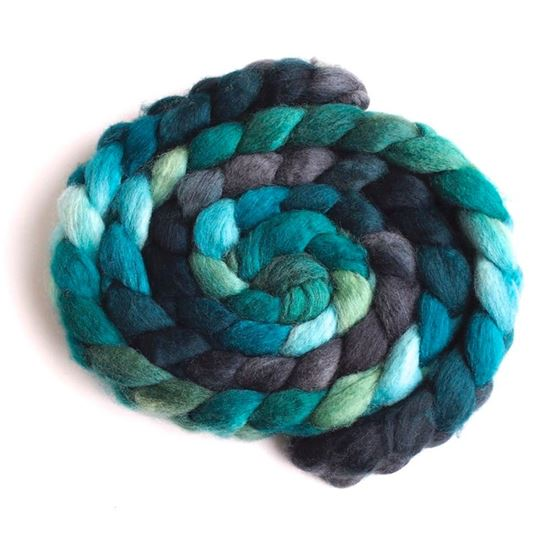 Shadows and Conifers on BFL Wool Roving