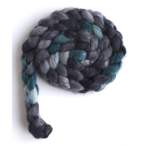 Grey and Teal - Superwash BFL Wool/ Nylon-3