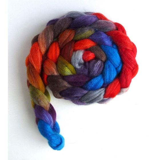 Zinnias During Dusk - Polwarth/Silk Roving-3
