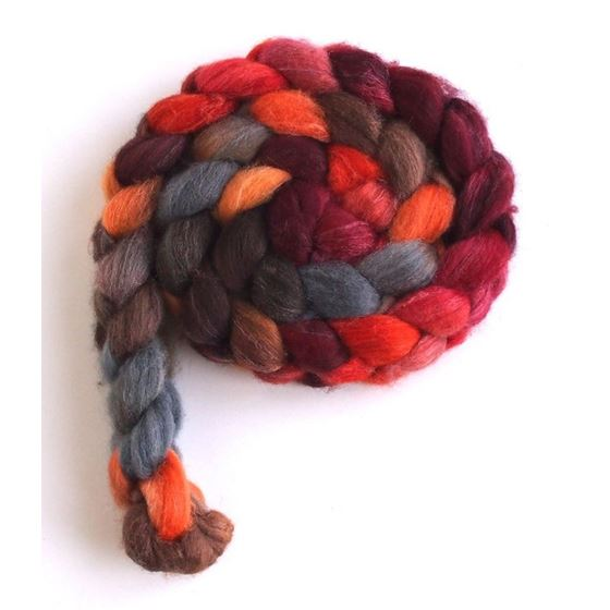 Pumpkin and Persimmon on Polwarth/Silk Roving3