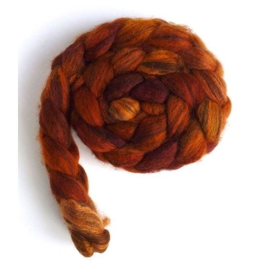Burnt Orange Dazzle - Mixed BFL Wool Roving