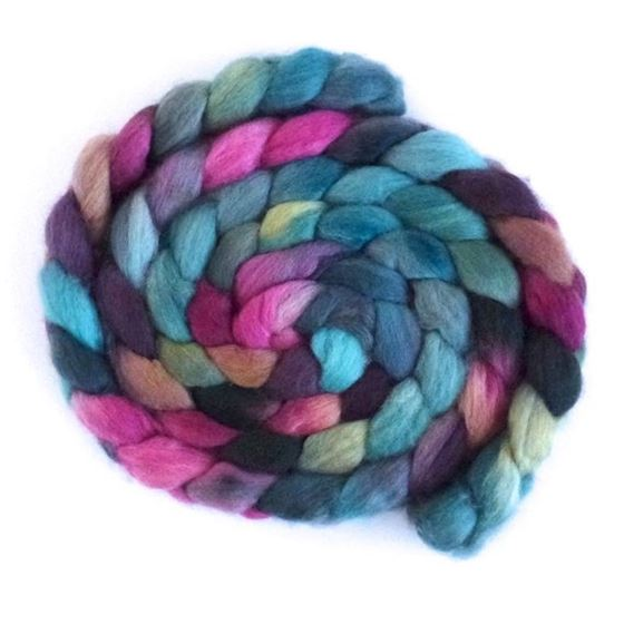Aqua and Amethyst - BFL Wool Spining Roving-1
